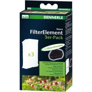Dennerle 5865 Ricambio confezione da 3 cartucce per Nano Filtro Angolare e Angolare XL più spugna per pre-filtraggio