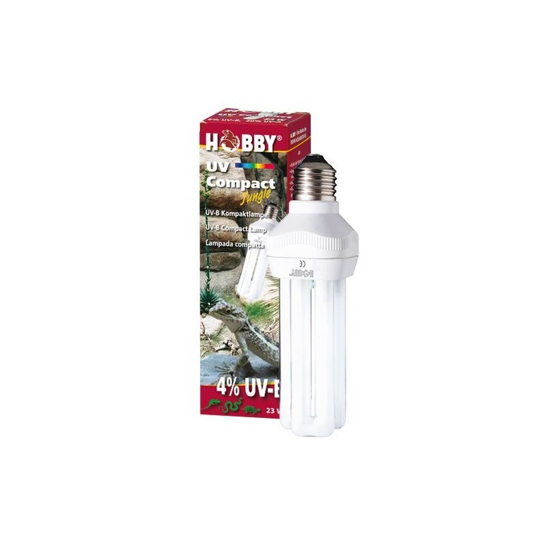 Hobby uv compact jungle uv b 4 23 w lampada luce per for Lampada uvb per tartarughe