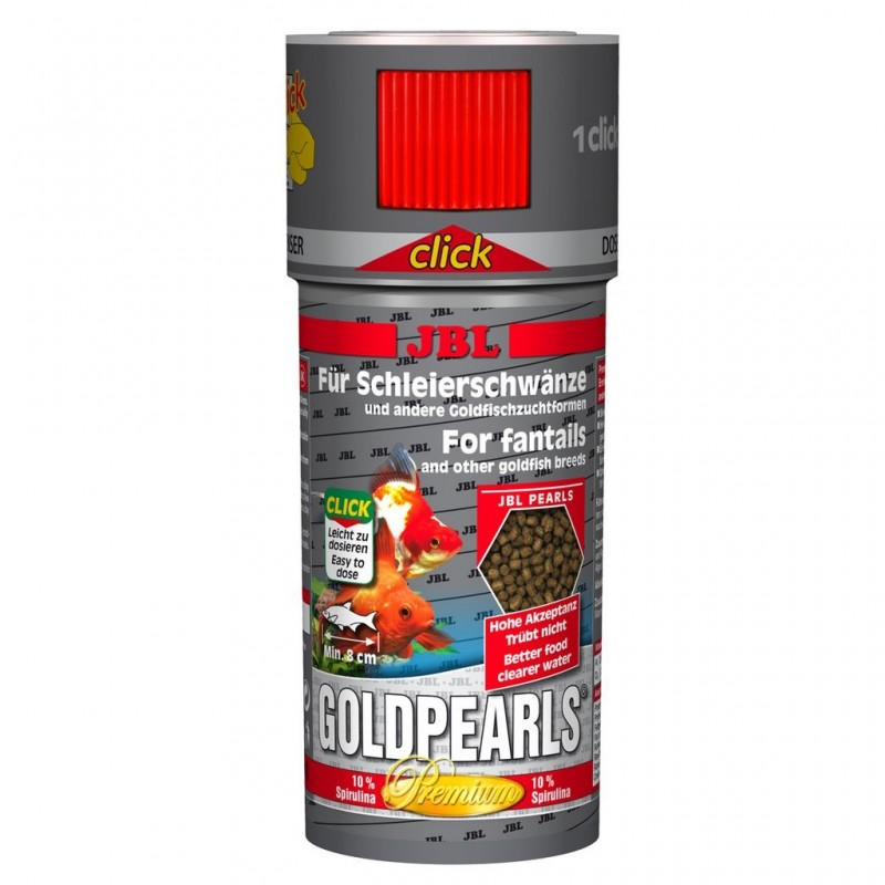 JBL GoldPearls CLICK 250 ml mangime in perle per caracinidi e pesci rossi d'acquario