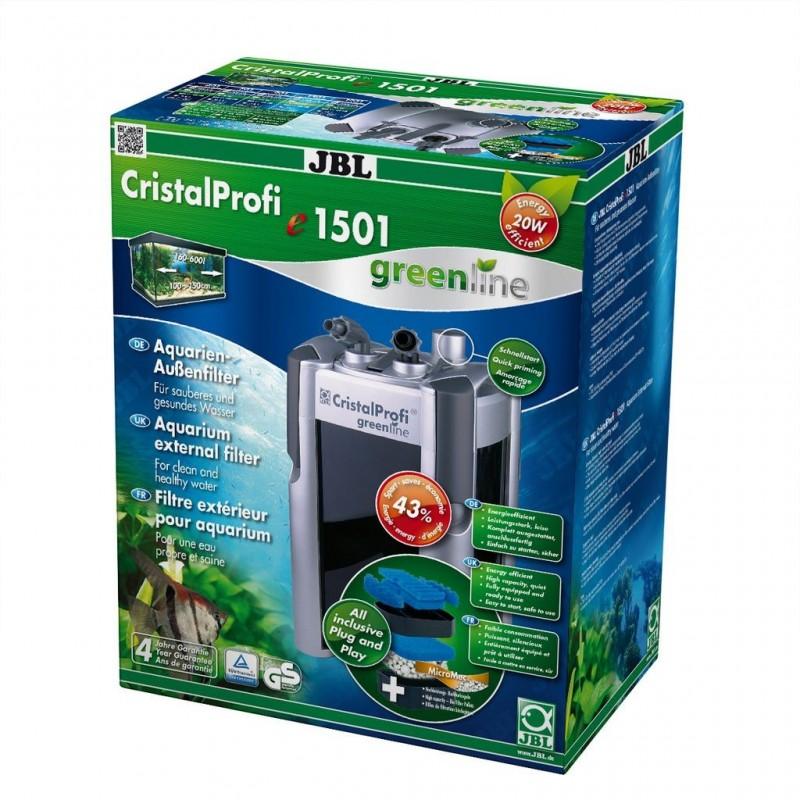 JBL Filtro Esterno Cristal Profi E1501 Green line Completo di Materiali Filtranti per Acquari Fino a 600 Litri Pompa 1500 L/H