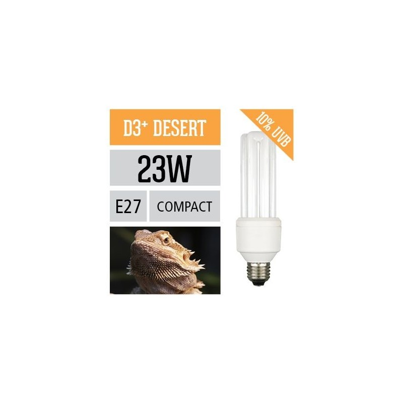 Arcadia Desert Compact Lamp 23W E27 UV-B 10% luce per rettili da terrario esalta i colori - FD3PC23X