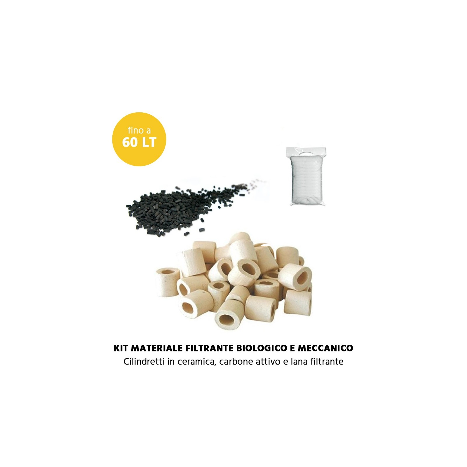 MTB Kit Materiale Filtrante biologico e meccanico per acquari fino a 60 litri MILO 43 e 60