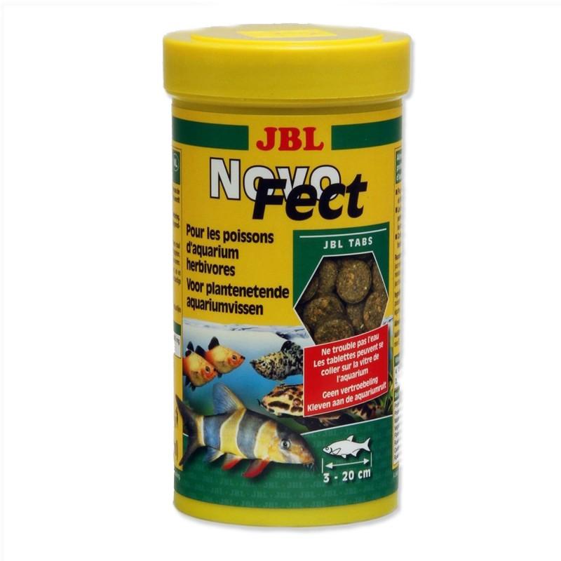 JBL Novo Fect 250 ml 400 Compresse Mangime in tabs per pesci erbivori con fibre vegetali essenziali