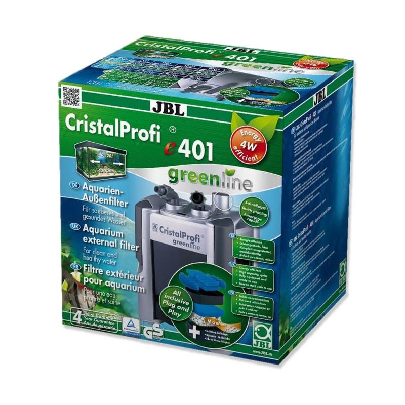 JBL Filtro Esterno Cristal Profi E401 Green Line Completo di Materiali Filtranti per Acquari Fino a 120 Litri