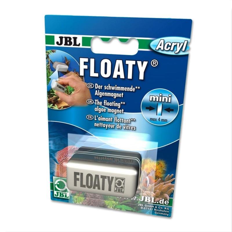 JBL Floaty Acryl Mini II spazzola magnetica galleggiante rimuove le alghe dai vetri d'acquario con spessore massimo di 4mm