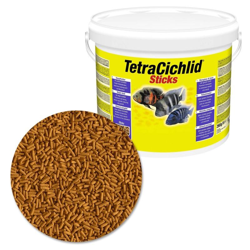 Tetra Cichlid Sticks 10 lt Mangime in sticks per ciclidi e pesci di taglia grossa d'acquario favorisce la crescita