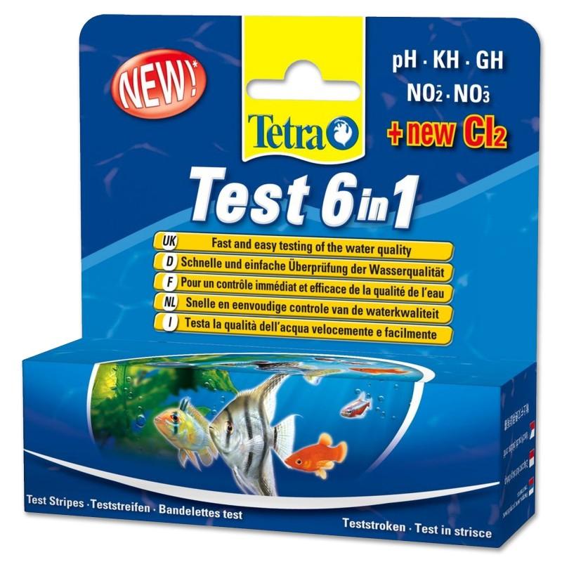 Tetra Test 6 in 1 principali test in acquario ph kh gh no2 no3 Cl2 25 misurazioni