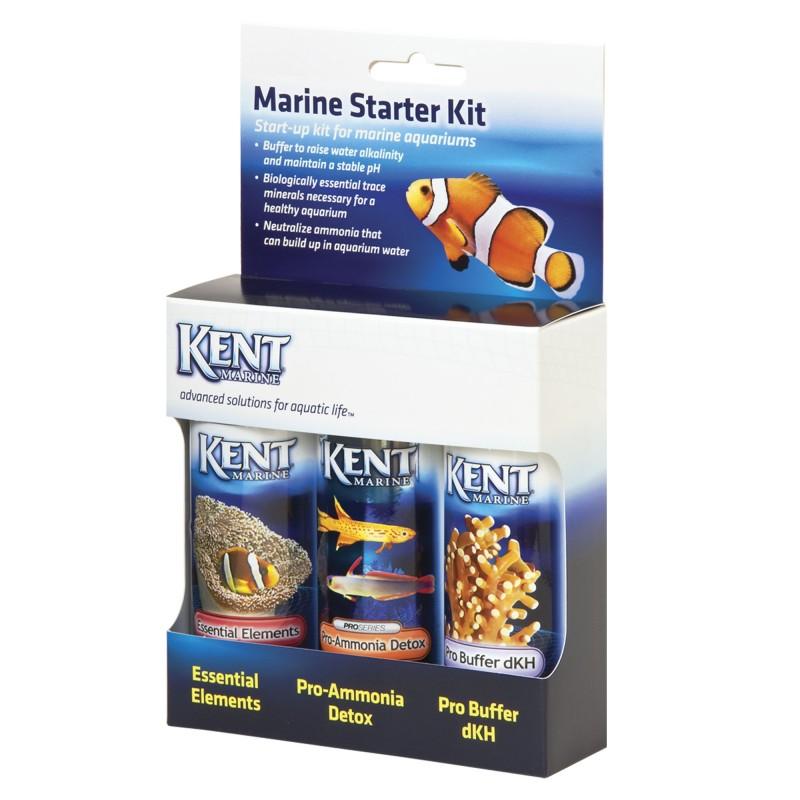 Kent Marine Starter Kit contenente Essential Elements, Pro-Ammonia Detox, Pro Buffer dKH additivi per acquario marino