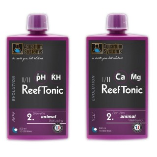 Aquarium Systems Reef Evolution Reef Tonic 1 & 2 Sistema Tampone Ph Kh Ca Mg per acquario marino