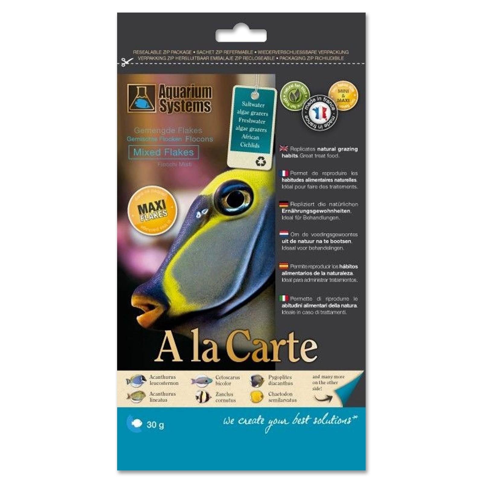 Aquarium Systems A la Carte Mixed Flakes Maxi 30g Mix di Alghe tagliate in fiocchi grandi mangime per pesci