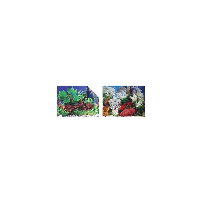 Sfondo esterno per acquario doppia faccia con piante Altezza 60 cm - 1 metro