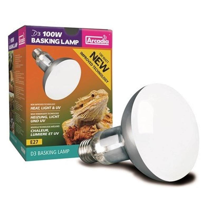 Arcadia Lampada Reptile D3 UV Basking 100W luce a mercurio riscaldante per rettili e terrari