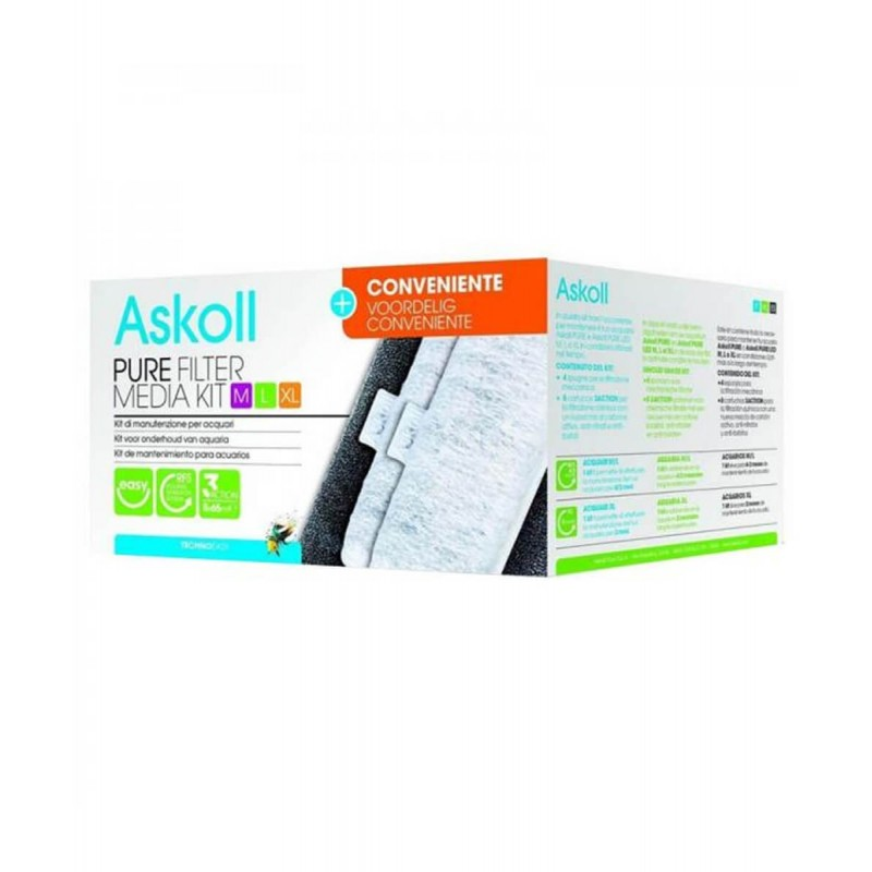Askoll Pure Filter Media Kit M L XL formato convenienza materiali filtranti per acquari Askoll Pure